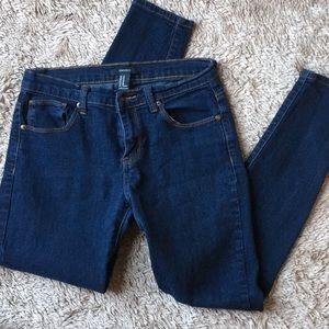 F21 dark wash denim skinny jeans stretch